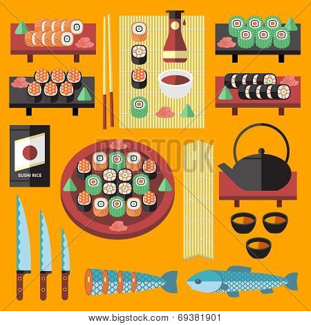 Vector sushi and Japanese food icons set.