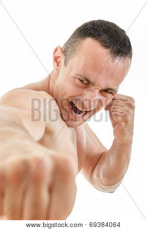 Close Up Portrait Of Kick Boxer Fighter Punching With Expression