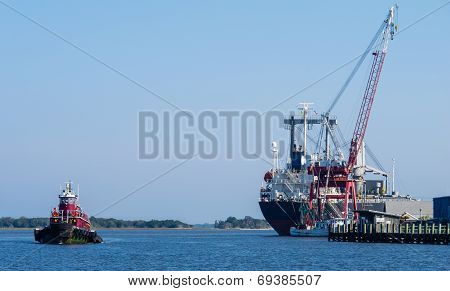 Three Boats: Freighter, Tugboat, Shrimp Boat