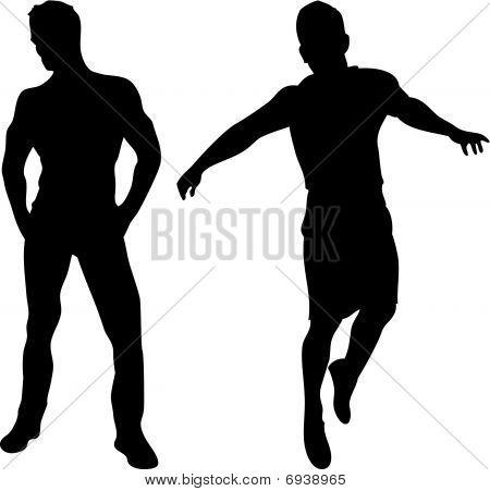 2 siluetas de hombres sexy sobre fondo blanco.