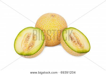 One Whole And Two Half Galia Melons
