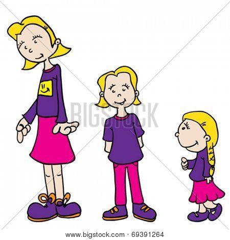 little girl growing up cartoon illustration