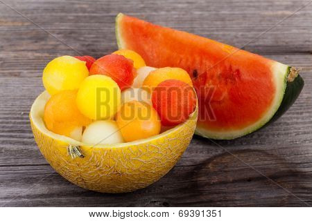 Melon Balls In Bowl, Made Of A Melon