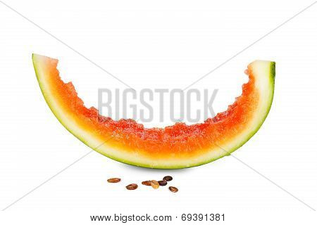Watermelon Pieces With Seeds Nibbled