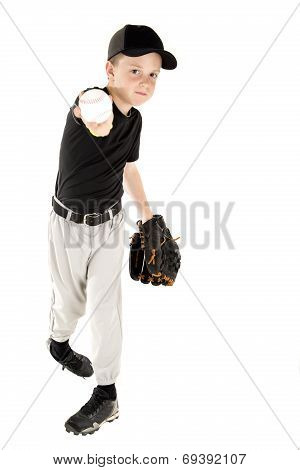 Young Baseball Player Throwing The Ball Into The Camera