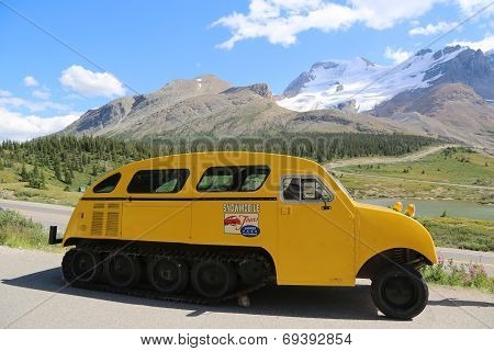 Historical snowmobile in Jasper National Park in the Columbia Icefields, Canada
