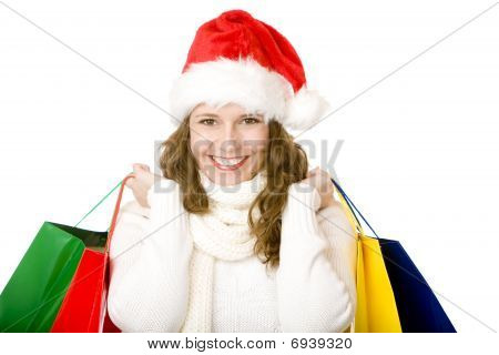 Young Attractive Smiling Santa Claus Woman Doing Christmas Shopping