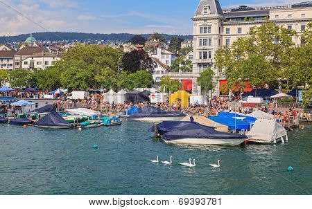 Zurich, Limmatquai Quay During The Street Parade