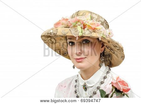 Adult Beauty Wearing Tapestry Hat
