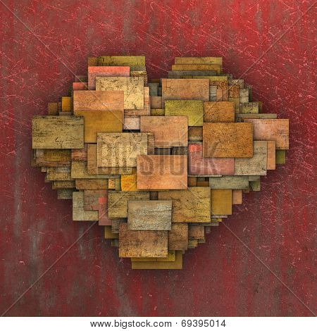 3D Fragmented Heart Shape Square Tile Grunge Pattern