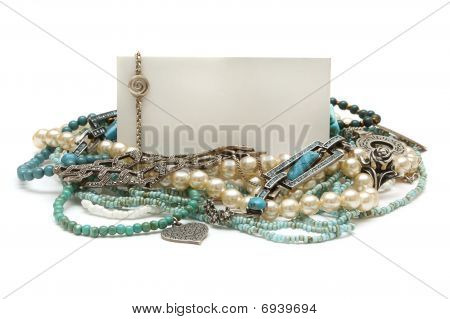Frame Of Jewelry: Silver, Turquoise, Pearls, Coral, Platinum And Diamonds