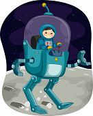 image of kiddie  - Illustration Featuring a Kiddie Astronaut Controlling a Space Robot - JPG