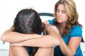 stock photo of weeping  - Teenage problems - JPG