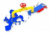 stock photo of peace-pipe  - Gas pipeline over Russian and European Union maps on a white background - JPG