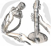 foto of barter  - hand sketched illustration of Barter swapping hands with camera and guitar - JPG