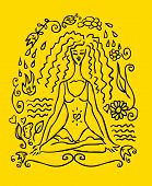 picture of yoga silhouette  - Yoga woman tattoo fake card emblem icon - JPG