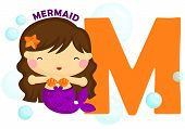 image of mermaid  - the letter m for the word mermaid - JPG