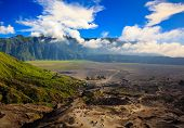stock photo of bromo  - Path to Mount Bromo volcano East Java Indonesia - JPG