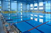picture of grandstand  - Empty swimming pool for sports competition and fitness exercises - JPG