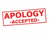 image of apologize  - APOLOGY ACCEPTED red Rubber Stamp ver a white background - JPG