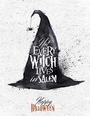 stock photo of witches  - Witch hat halloween poster lettering not every witch lives in salem stylized drawing vintage - JPG