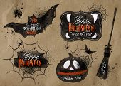 stock photo of holiday symbols  - Halloween set - JPG