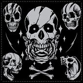 image of skull cross bones  - Skull in Old school Tattoo Style Vector for use - JPG