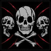 pic of skull cross bones  - Skulls and bone cross in Old school Tattoo Style - JPG