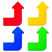 stock photo of turn-up  - Set of simple colorful arrows with up turn - JPG