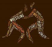 image of wrestling  - wrestling word cloud with brown wordings on brown background - JPG