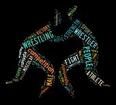picture of wrestling  - wrestling word cloud with colorful wordings on black background - JPG