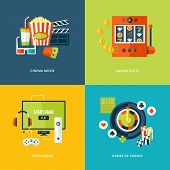 foto of watching movie  - Set of flat design concept icons for entertainment kinds - JPG