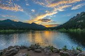 pic of mountain sunset  - Beautiful sunset sky over Lily Lake  - JPG