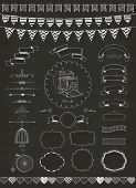 foto of caged  - Vector Chalk Drawing Banners Ribbons Frames - JPG