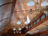 pic of railroad car  - The beautiful wooden ceiling of a vintage railroad car - JPG