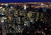 picture of empire state building  - Night view from the top of the Empire State Building in New York City [[** Note: Soft Focus at 100%, best at smaller sizes ** Note: Visible grain at 100%, best at smaller sizes - JPG