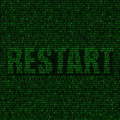 image of reboot  - The programming code on the dark background and the text restart - JPG