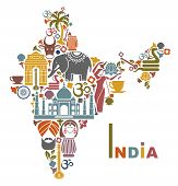 stock photo of black tea  - Traditional symbols in the form of a map of India - JPG