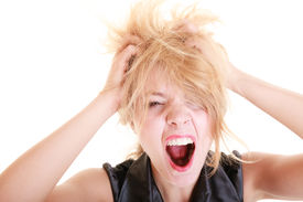 pic of screaming  - Angry businesswoman crazy boss furious woman screaming and pulling messy hair isolated on white - JPG