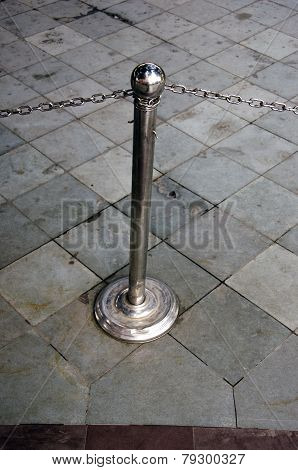 Steel Barrier With Chain In Museum