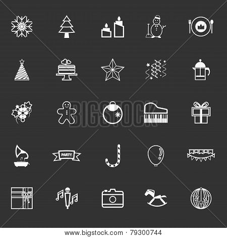 New Year And Christmas Line Icons On Gray Background