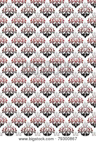 White background with a classic black and red floral pattern
