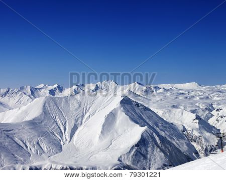 Winter Mountains And Blue Clear Sky At Nice Day