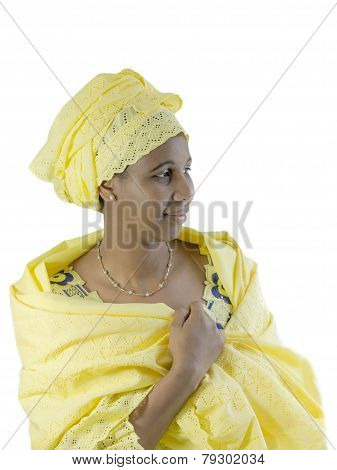 Beautiful African woman, traditional clothing, isolated
