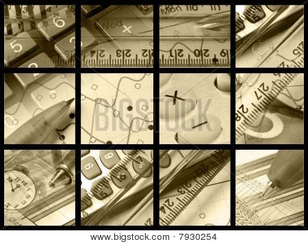 Pens, Rulers, Clock And Keys (sepia)