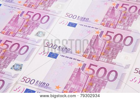 Five hundreds euro banknotes.