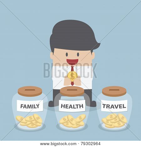 Businessman Putting Coin Into Family, Health, Travel Bottle, Financial Concept