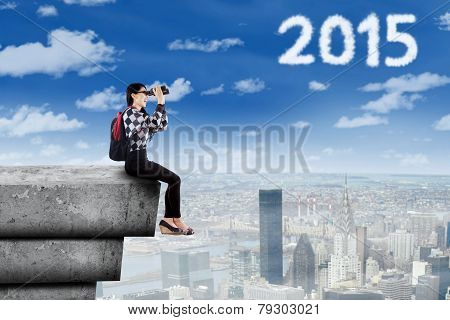 Schoolgirl With Binoculars Looking At Number 2015