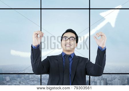 Successful Man With Rising Upward Arrow