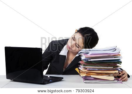 Tired Young Entrepreneur Sleeping On Documents